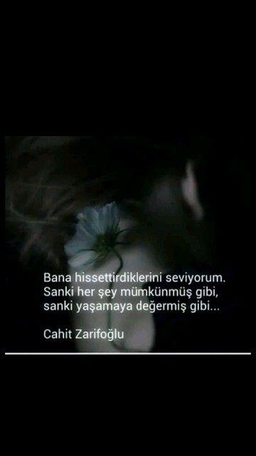 Bana hissettirdiklerini seviyorum Cahit Zarifoğlu