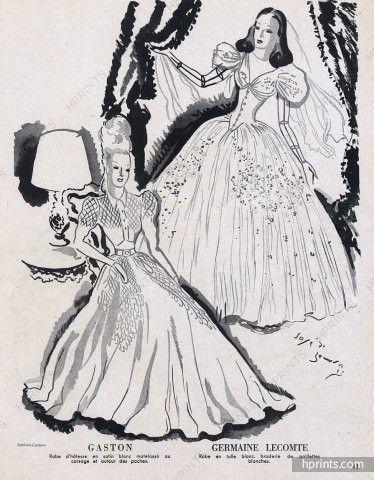 Germaine Lecomte & Gaston 1944 José de Zamora Evening Gown