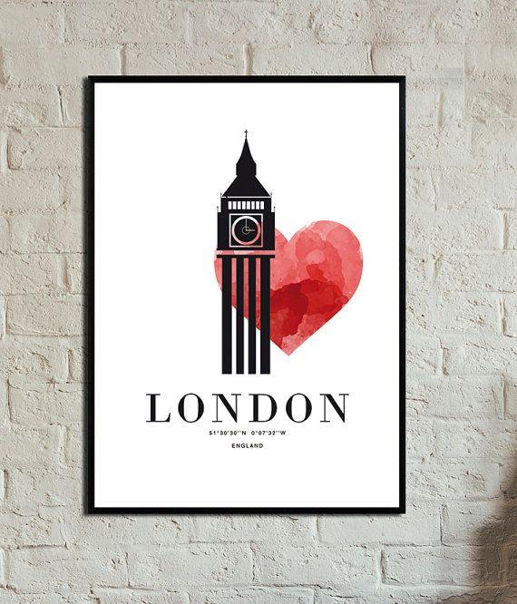 Love. London. Poster. Instant Download. Wall art. di 3dimensioni