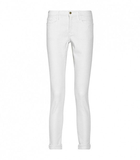 Frame Denim Le Garcon Mid-Rise Slim Boyfriend Jeans  in White