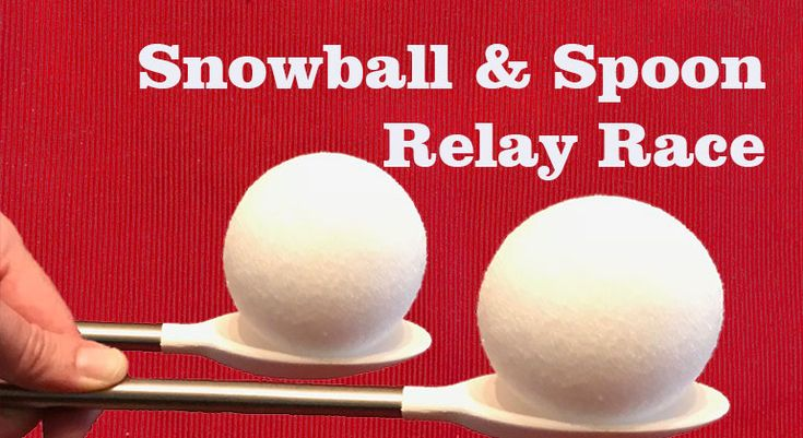 Snowball and Spoon Relay Race, this kid's Holiday party game will have kid's and adults focused on keeping their snowball on the spoon. It sounds easy until you try it.
