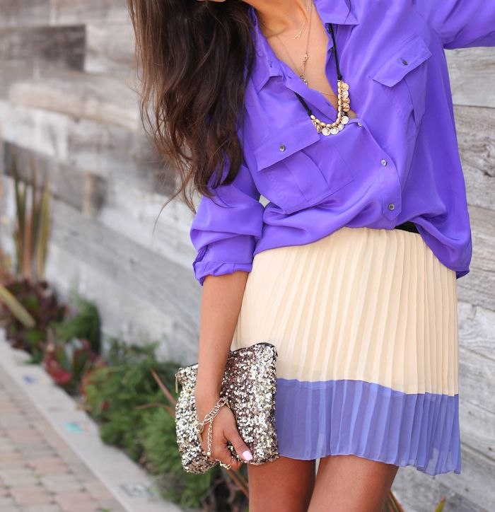 : Blouses, Colors Combos, Shades Of Purple, Style, Southern Charms, Shirts, Purple Outfits, Purple Fashion, Pleated Skirts