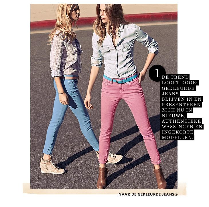 Gekleurde jeans met contrasterende riem van ESPRIT - News