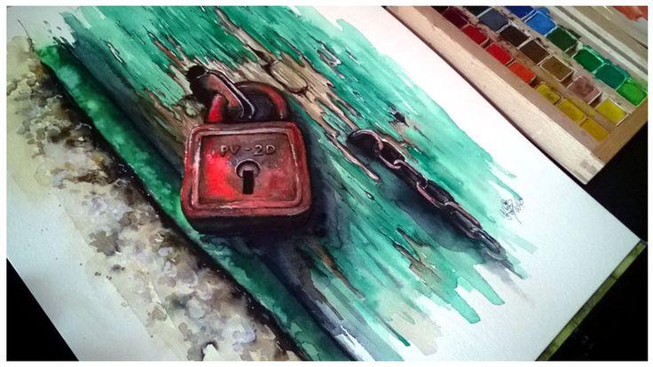 Akvarelový obraz - Rezavý zámek. Originál malba