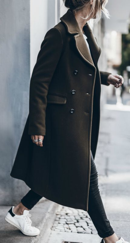 military trend + sportswear trend + sneakers + long line coat + Jacqueline Mikuta + busy day yet still stylish + on point.  Coat: Marc O' Polo