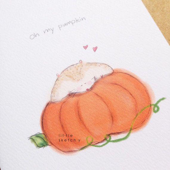 My pumpkin.funny love card. love. handmade by littlesketchyaus