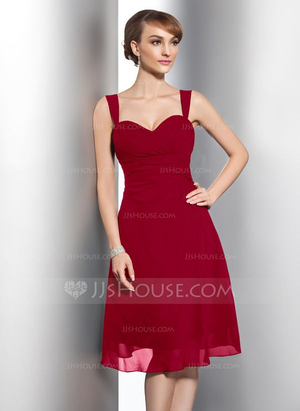 4675fd9afeba A-Line/Princess Sweetheart Knee-Length Chiffon Bridesmaid Dress With Ruffle