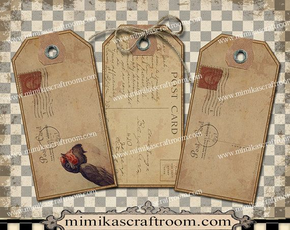 Vintage POSTCARDS Blank Tags editable labels by mimikascraftroom