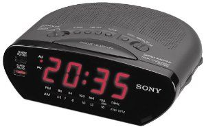 SONY ICF-C211-BLK AM/FM Clock Radio by Sony. $19.99. From the Manufacturer                This clock radio from Sony features a large highly readable display  that can be seen form just about anywhere in the room, even at night. Wake  to the sound of music from your favorite radio station or to the standard  digital alarm sound. Large easy-to-see LED display is highly readable from a  distance, even at night. AM/FM Tuner lets you choose from the wide variety  of news,...