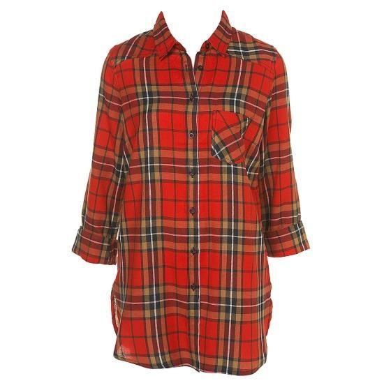 Женская красная клетчатая рубашка