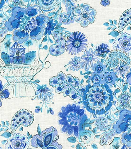 Dena Home Print Fabric   Blissful Bouquet/Blueberry