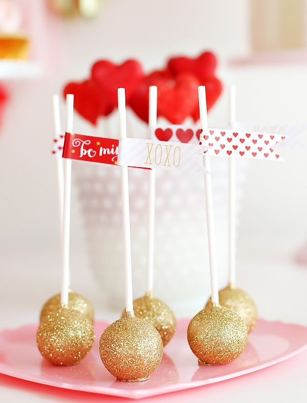 Pink, Red, & Gold Valentine's Day Dessert Table // Hostess with the Mostess®