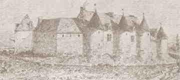 """Champagne-Mouton, Château.- 1)Ch. DE C-MOUTON AU XVI°s: A. Rempoulx du Vignaud: """"Histoire de Champagne-Mouton"""". """"C'est une construction lourde et sombre, sans élégance, forteresse élevée il semble à la hâte, sans souci du goût architectural de l'époque, mais remarquable par l'ensemble de ses masses. Les bâtiments qui la composent s'étendent presque sans discontinuer sur un périmètre de 280m entourant une cour quadrilatère."""