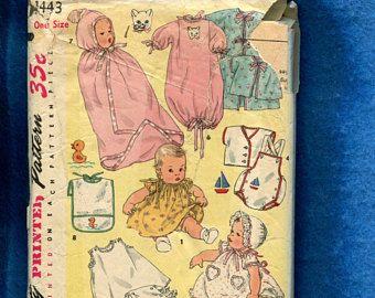 Patrón de canastilla de bebé 1960  un tamaño  Kimono mono