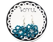 Crocheted earrings in teal blue by Loru