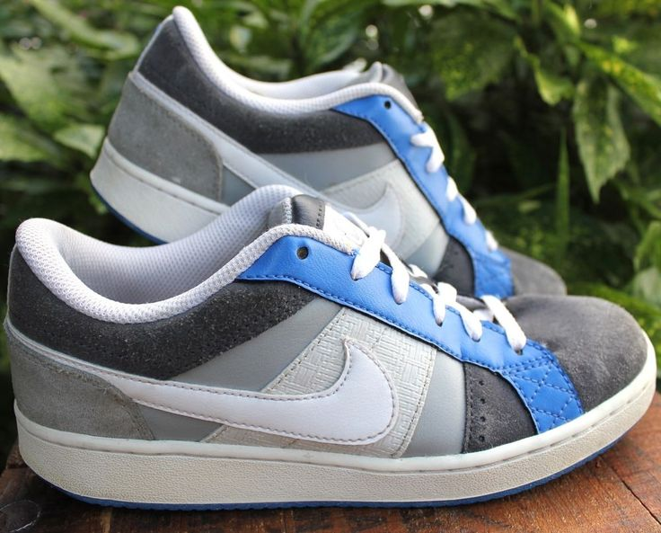 Nike Gray & Blue Suede & Leather Athletic Shoe Y 6 Women 8 #Nike #