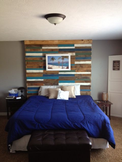17 best ideas about painted wood headboard on pinterest for Painted headboard on wall