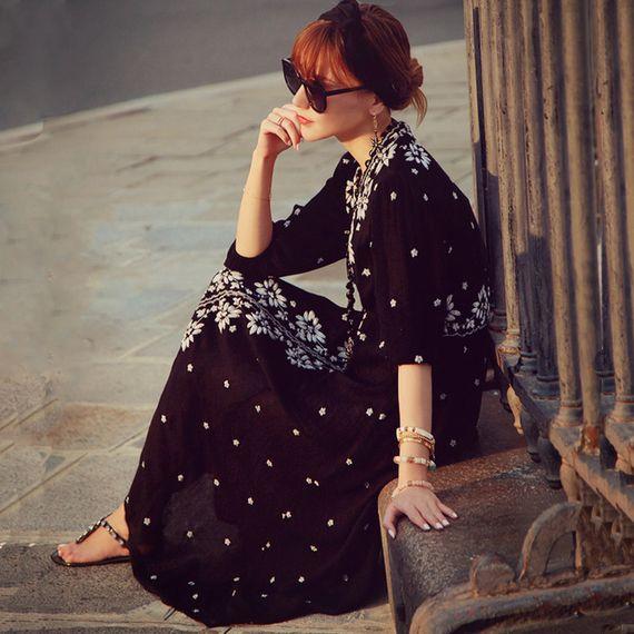 봄과 여름 해변 리조트 해변 스커트 국가 바람 자수 꽃 무늬 코튼 드레스 보헤미안 드레스 대형 여성