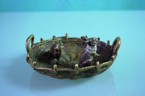 Antique-Vienna-bronze-Rabbits-in-Basket-Wiener-Bronz-c-1900 $153