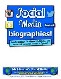 Social Media Biographies! Twitter, Facebook, Snapchat, and Instagram Templates!