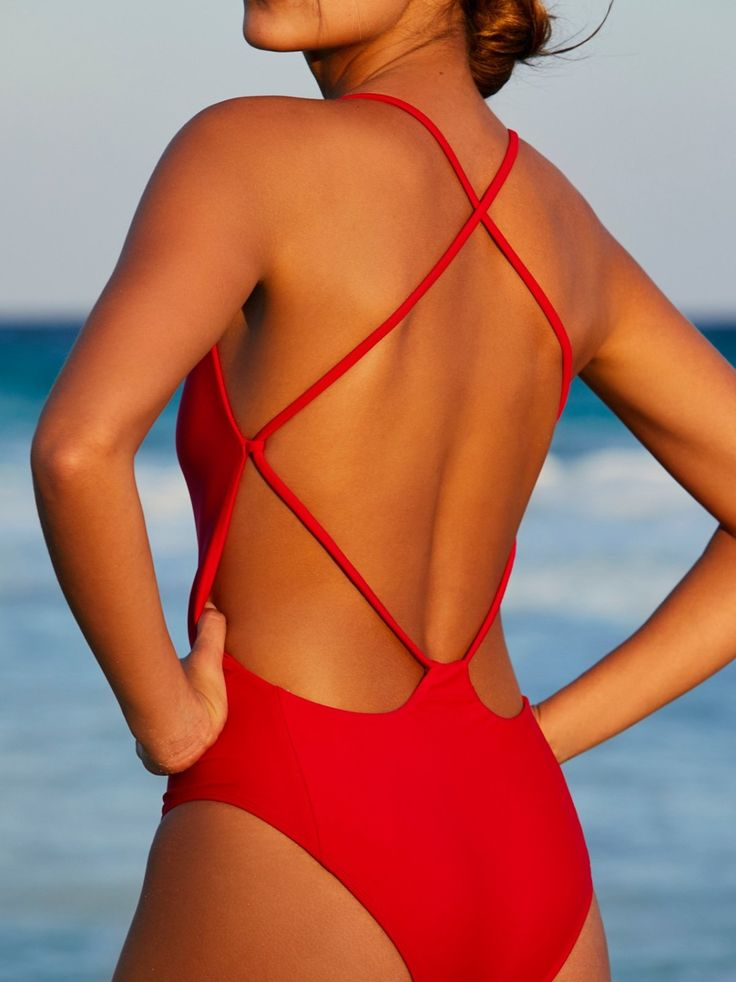 Farrah One Piece Swimsuit | American made solid one piece swimsuit featuring a plunging V-neckline.