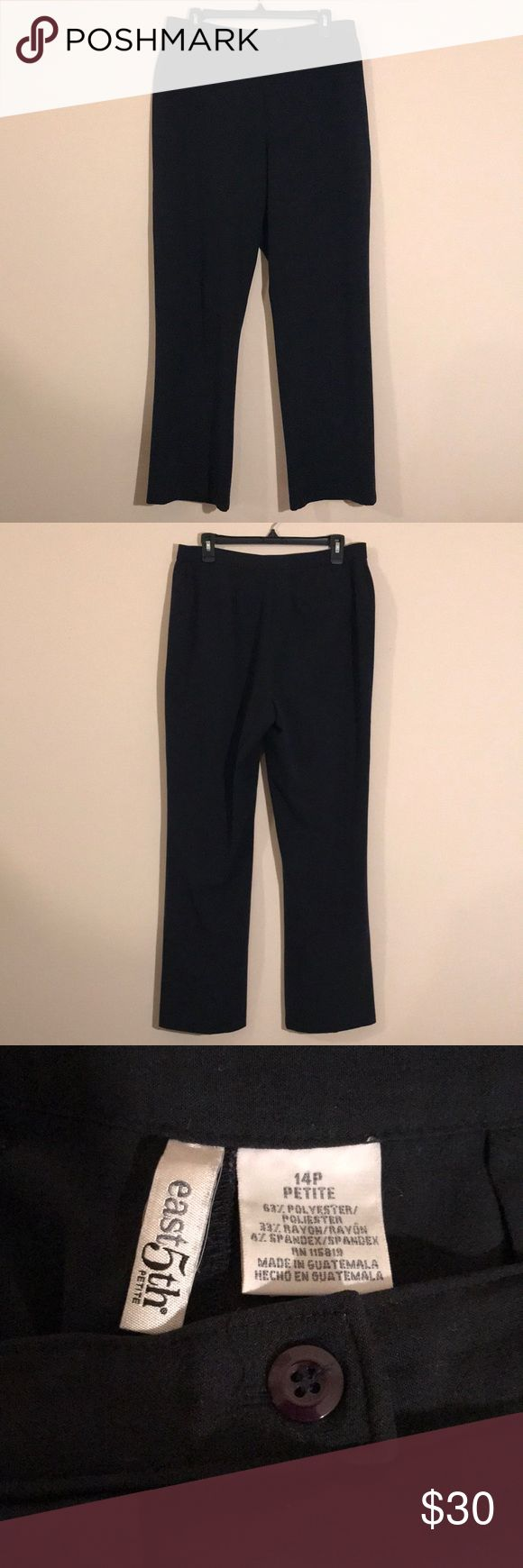 East 5th Dress Pants East 5th Petite dark blue dress pants - size 14P - button, metal clasp, and zipper - one fake back pocket - like new! Feel free to ask any questions! Sorry, no trades. East 5th Pants Trousers