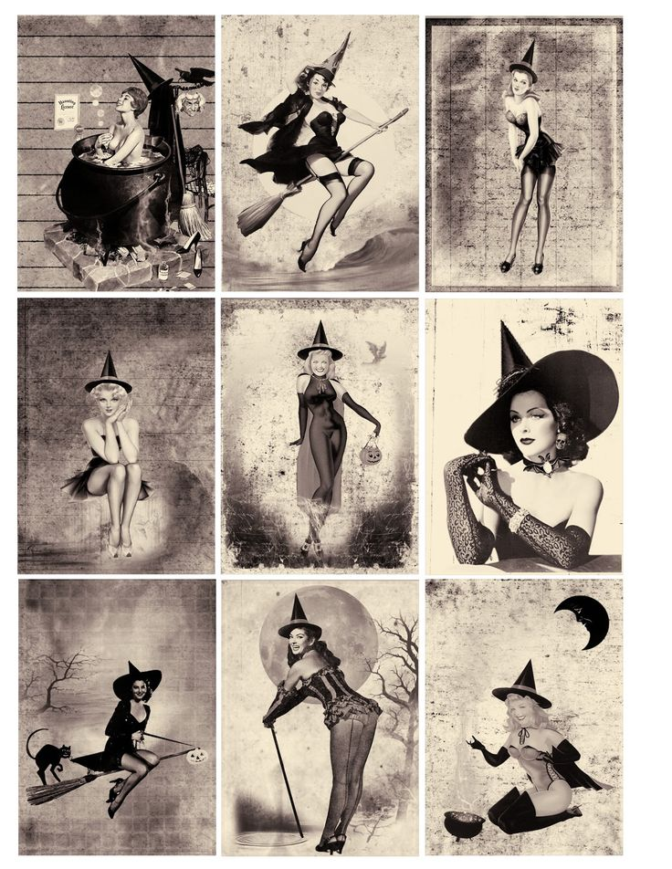 One Blank Dream: Free Sexy Pin Up Halloween Witches ATC Background