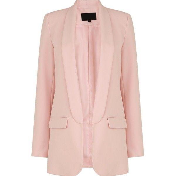 Blush Pink Blazer (635 MAD) ❤ liked on Polyvore featuring outerwear, jackets, blazers, pink blazer, pink jacket, pink blazer jacket and blazer jacket