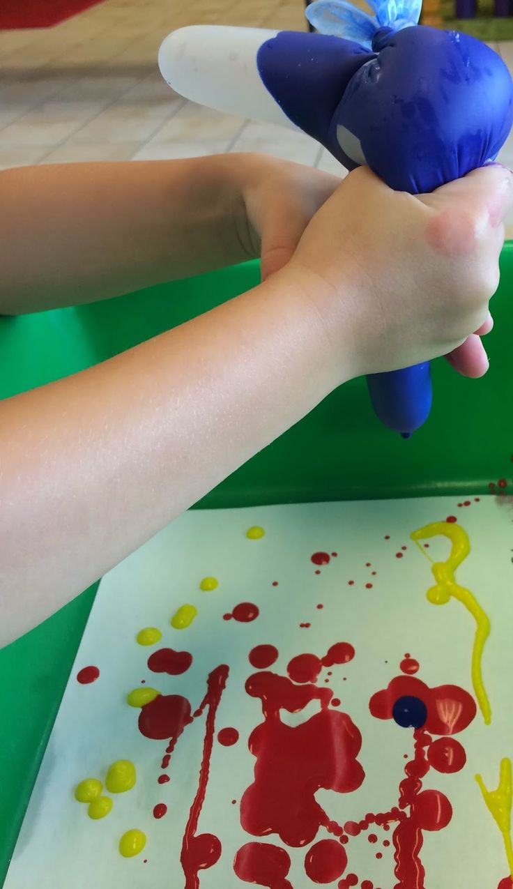 painting with plastic gloves
