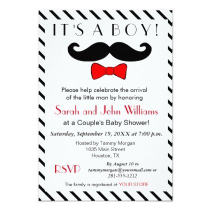 itu0027s a boy mustache and bowtie couples baby shower card couples shower invitations