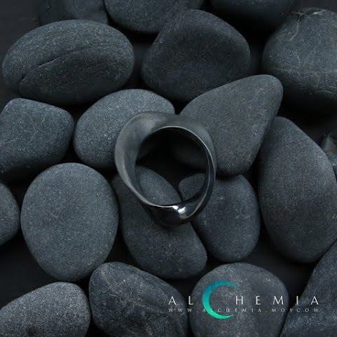 The Ribbon ring. Blackened silver, satin cover. Handmade by Alchemia Jewellery.