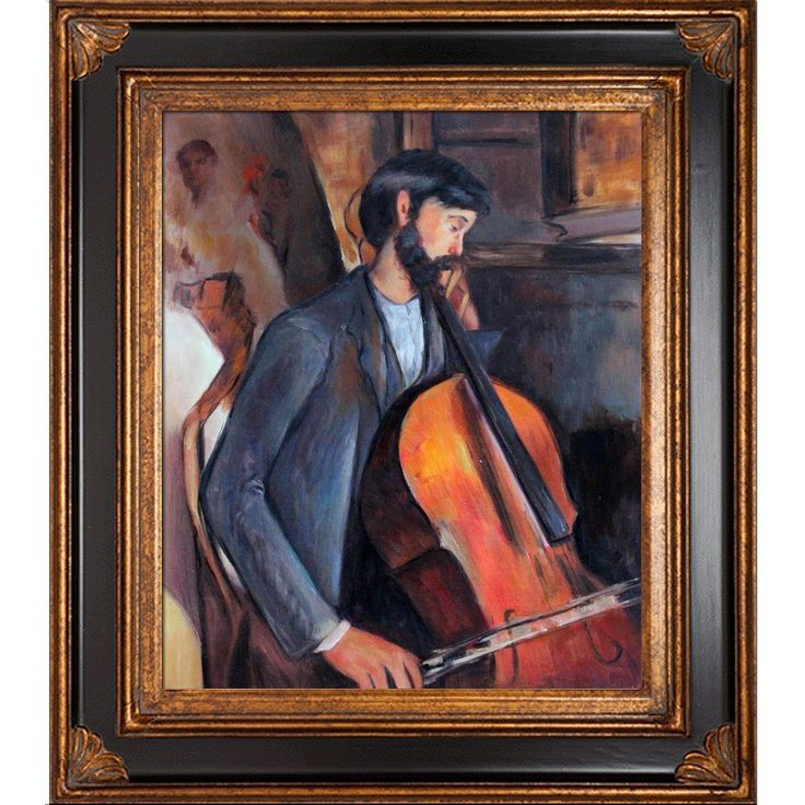 overstockArt The Cellist Framed Oil Reproduction of an Original Painting by Amedeo Modigliani, Corinthian Frame, Black and Gold Finish