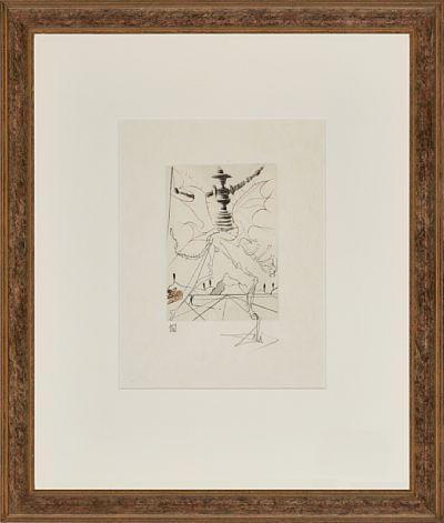 """Salvador Dali  spansk 1904 - 1989  """"Henry IV"""" 1970 Fargeetsning på japanpapir, 109/250, 17,5x12,5 cm Signert nede til høyre: Dali   Fra serien """"Much Ado about Shakespeare"""" 1970  Michler-Löpsinger 400"""