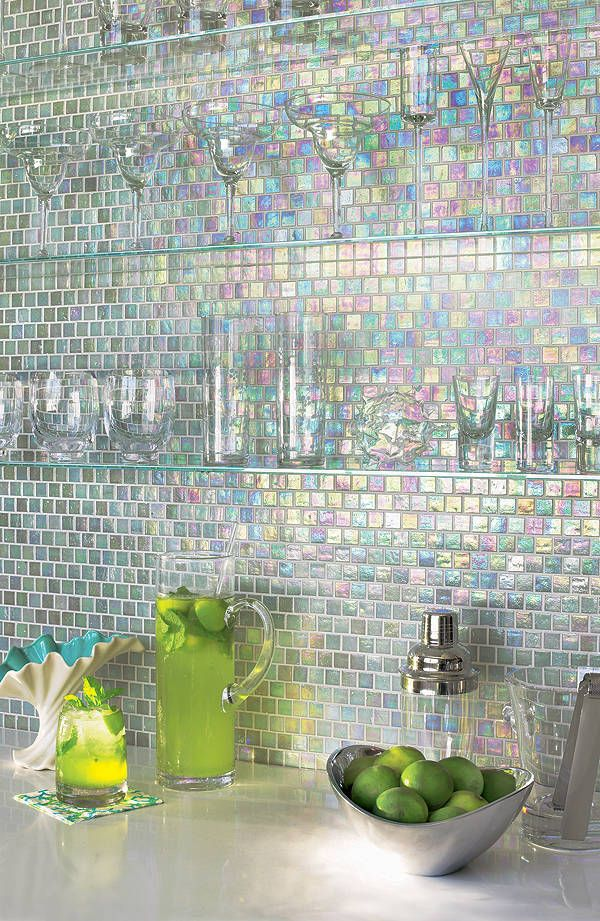 35 Cool And Creative Kitchen Backsplashes --- love that the clear shelves & glassware allow the tile to be the star here