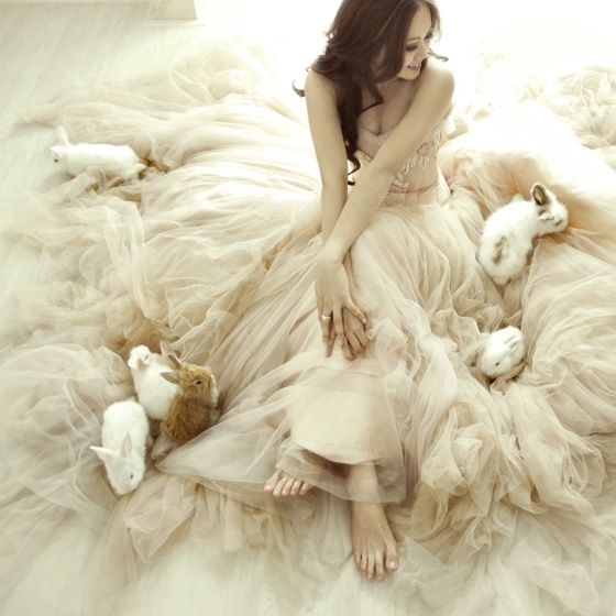 rock and roll bride  //  Cecilia's Fairytale Portrait Session….with Baby Bunnies