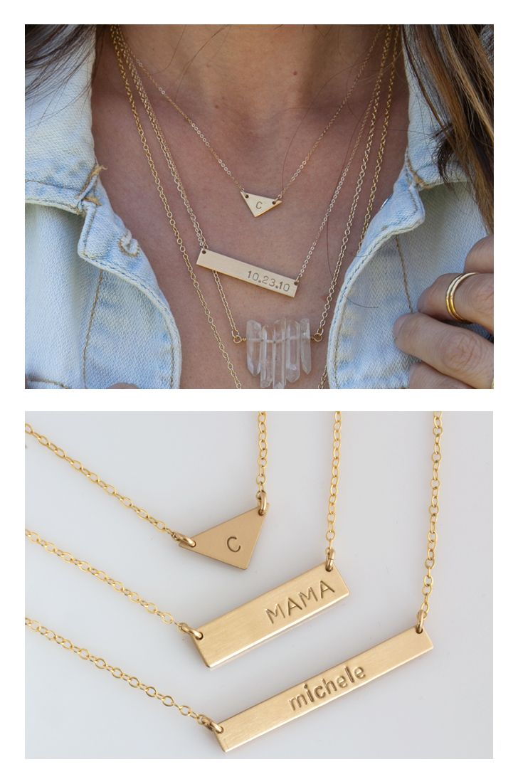 The personalized Classic Bar Necklace, nameplate necklace can be customized with names,symbols, initials or leave it blank! Comes in 14k gold fill or Sterling Silver #leilajewelry