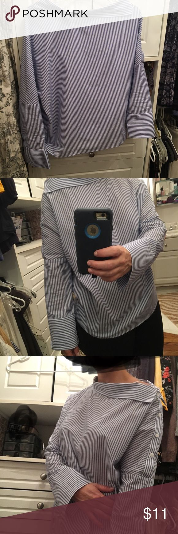 Blue and white blouse size small but fits large Super cute blue and white strip shirt. Has a little bow neck to show off some skin and then a touch of preppy with the sleeves. Great top, I wore it once it doesn't hit me right. Tops Blouses