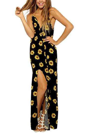 Подсолнечное печати Backless Cami Maxi платье с раздельным
