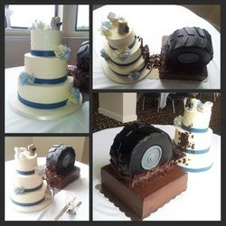 Muddy tire wedding cake. www.caketopiacakes.com