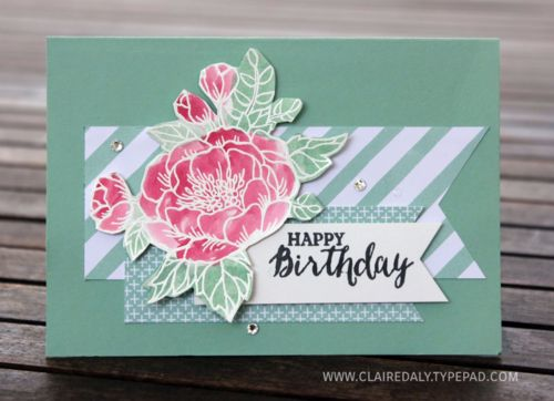 Stampin up birthday blooms watercoloured card by