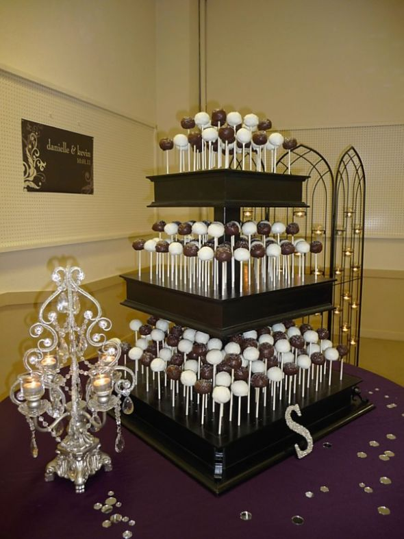 Our Wedding Cake Pop Stand Black Purple 26