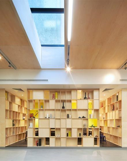 Spring Mews #Student #Living, The Manser Practice #London #British #chill #sky #light #colour #color #shelves #accommodation #home #amenity #lobby #yellow #plywood #elegant #design #interior #modern #comtemporary #stylish