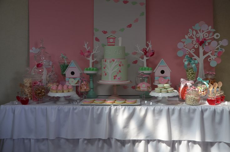 We Heart Parties: Pink & Mint Bird themed 1st Birthday