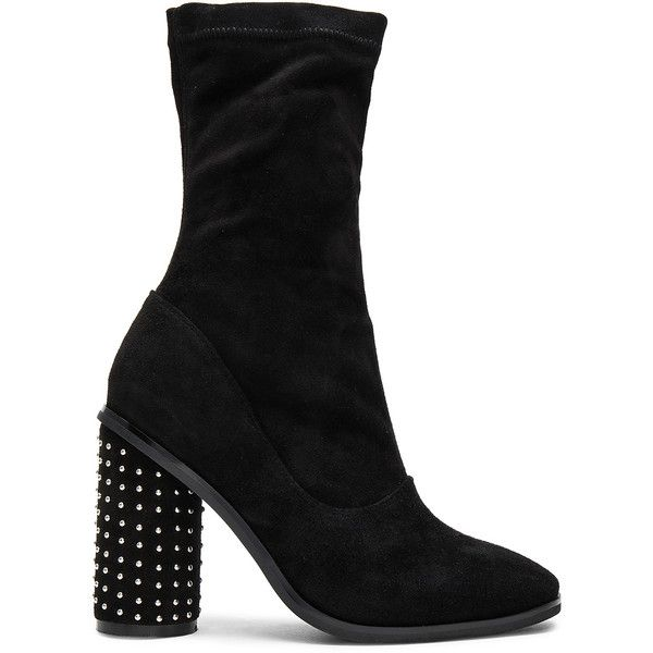 Sol Sana Chloe Booties II (780 DKK) ❤ liked on Polyvore featuring shoes, boots, ankle booties, booties, high heel ankle booties, rubber sole boots, studded high heel booties, studded boots and slip on boots