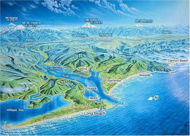 Topographical Map Of Washington And Oregon Coast Travel - Oregon topographic map