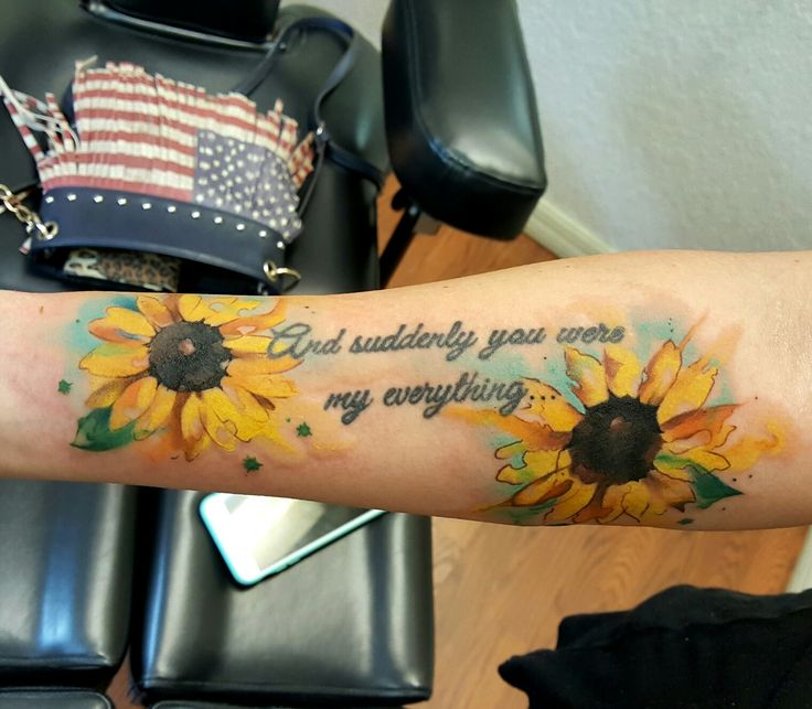 Watercolor sunflowers tattoo