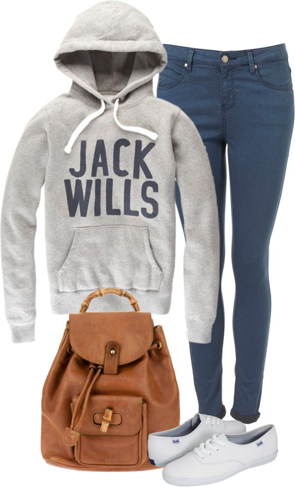 Eleanor Calder inspired outfit for the airport with JW hoodie!  Jack Wills printed shirt / Topshop skinny leg jeans / Keds leather shoes / Vintage gucci bag, $985