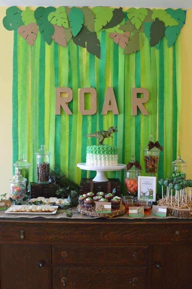 Host a roar-ing dinosaur birthday party. Great theme idea for a boys birthday party.