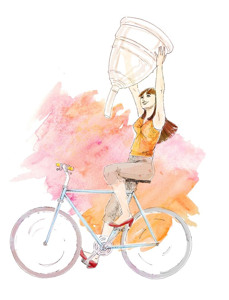WINNING THE CUP - Illustration for an article about advantages of use of menstrual cup when cycling - Pencil sketch painted digitally. #bycicle #illustration