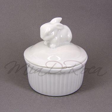 White Bowl with Rabbit Patrick - MiaDeRoca